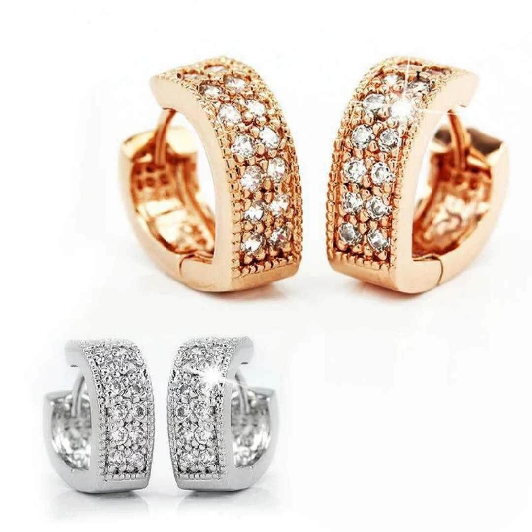 Ssa 18k Gold Plated High Quality Sweet V Love Crystal Hoop Earrings Women By Ssa Design.