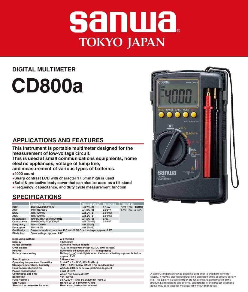 Sanwa CD800A Digital Multimeter (Japan) | Lazada