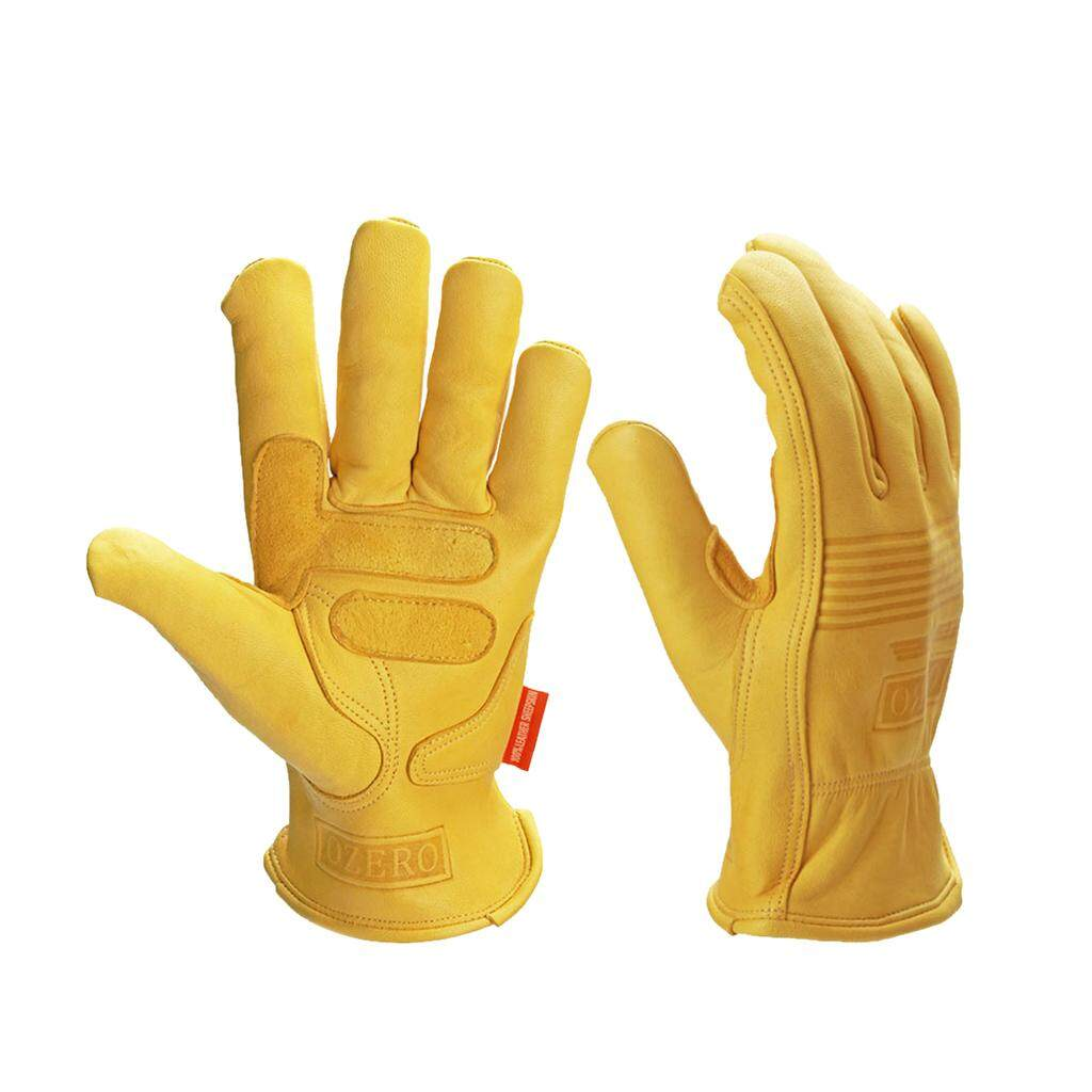 YIN Miracle Shining Leather Work Gloves Motorcycle DIY Yardwork Construction ect. L
