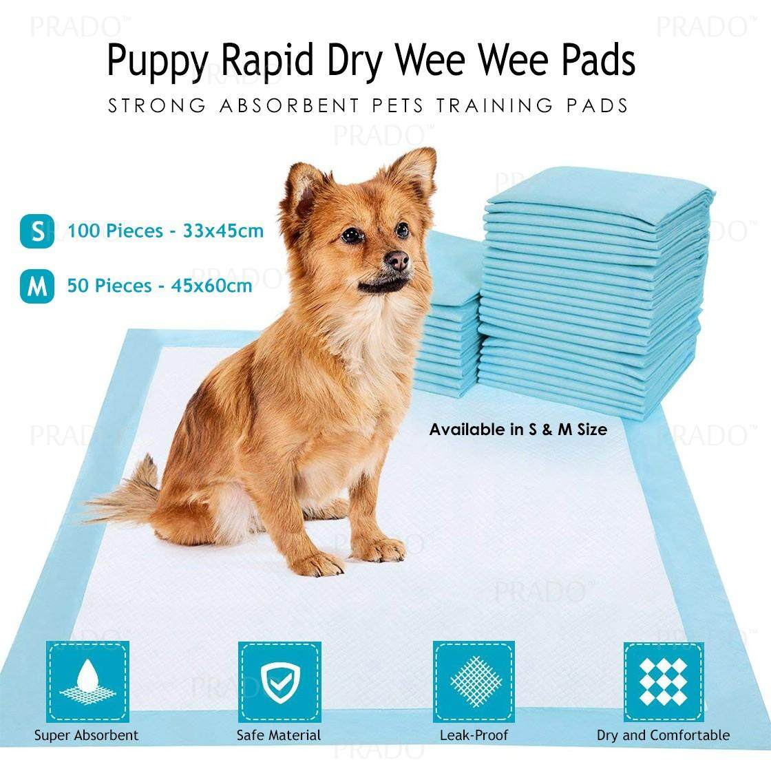 Prado Puppy Strong Absorbent Rapid Dry Leak Proof Lining And Locking Layers Pets Training Wee Wee Pads 21119 S Size By Prado.