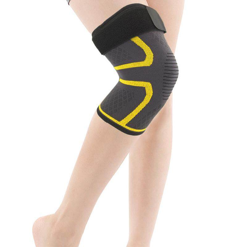 KALOAD Nylon Sports Protective Fitness Knee Pad Support Breathable Gym Exercise Knee Brace Protector-L-Yellow