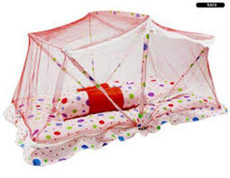 Tilam Kelambu Baby Foldable Mattress With Mosquito Net (big Polka Dot )- Red By Ichambell Shop.