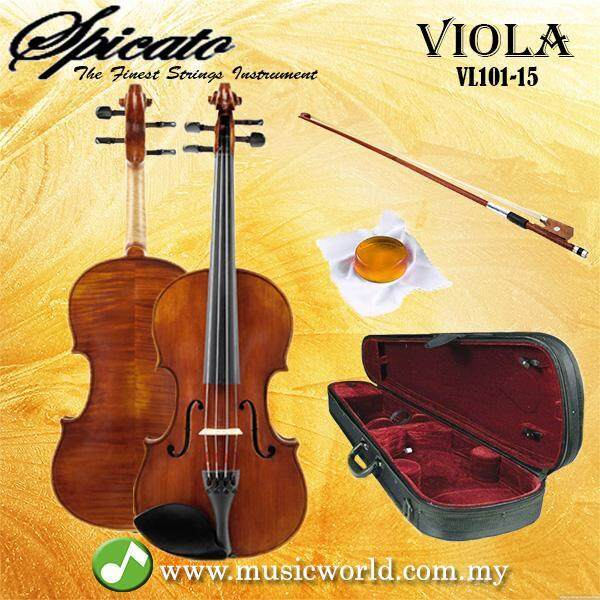 Spicato Italy Viola VL-101 15 Inch Intermediate Viola Bundle With Carrying Bag Bow Rosin Malaysia