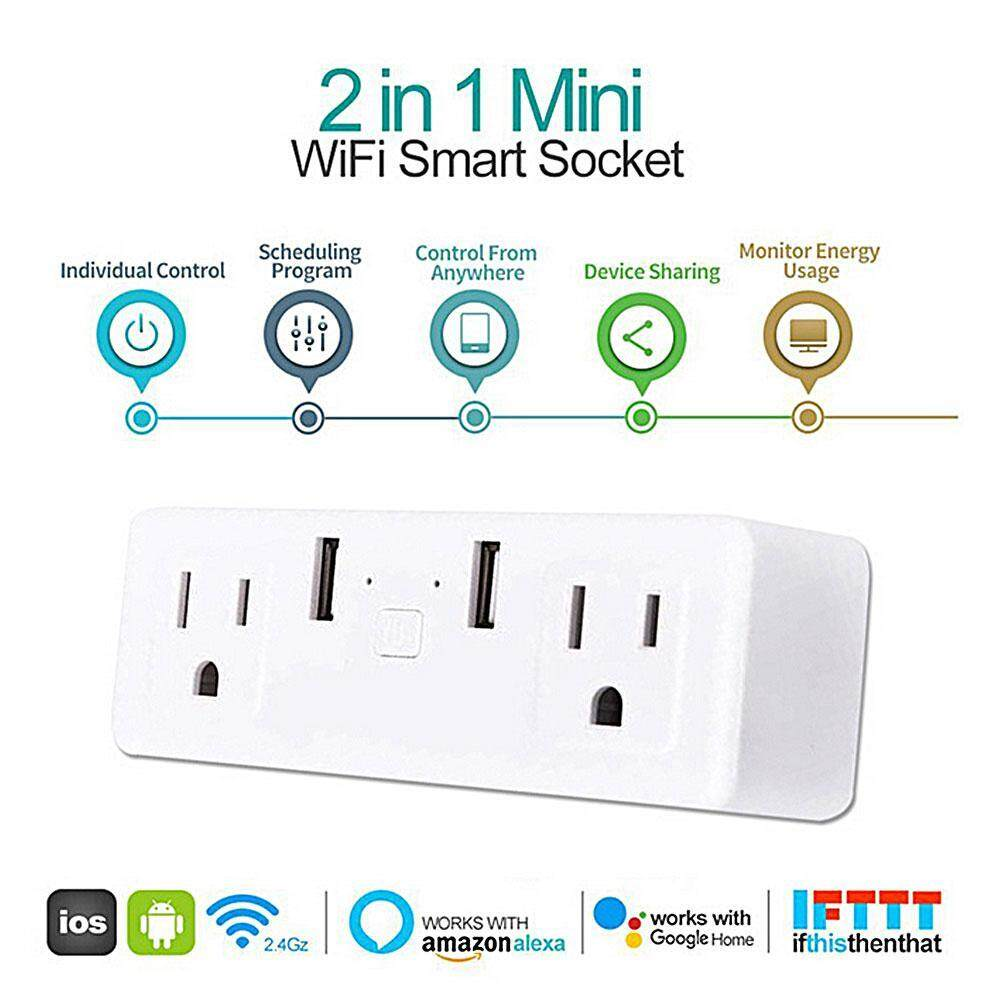 Womdee Smart Plug Socket, Dual Plug 2 USB Ports Switch with APP Remote Control and Timer Function, Compatible with Amazon Alexa / Google Assistant / IFTTT