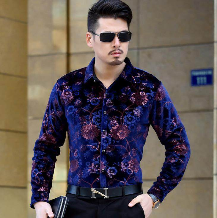 5a6cd43a490 Fashion Spring Autumn Mens Silk velvet Shirts Men Casual Long Sleeve Floral  Print Slim Dress Shirt