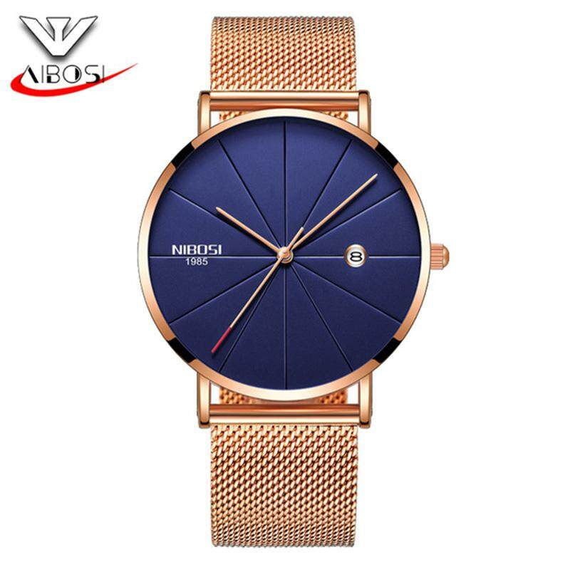 NIBOSI Men Luxury Business Watches Blue Stainless Steel Ultra Thin Classic Quartz Date Waterproof Male Teenage Gift Wristwatch Malaysia