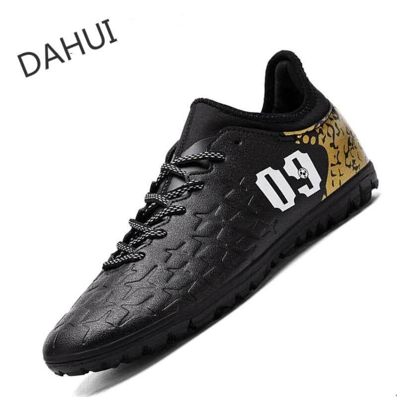 Men's Outdoor Soccer Shoes Turf Indoor Soccer Futsal Shoes (Black)