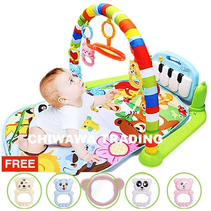 【free: 1 X Full Set Toy】baby Gym Rack Development Exercise Activity Kick & Play Piano Musical Song Colorful Play Gym Mat Crawling Cushion Blanket Soft Mattress Bed Bedding With Early Education Toy For Baby Infant Children By Chiwawa Trading.