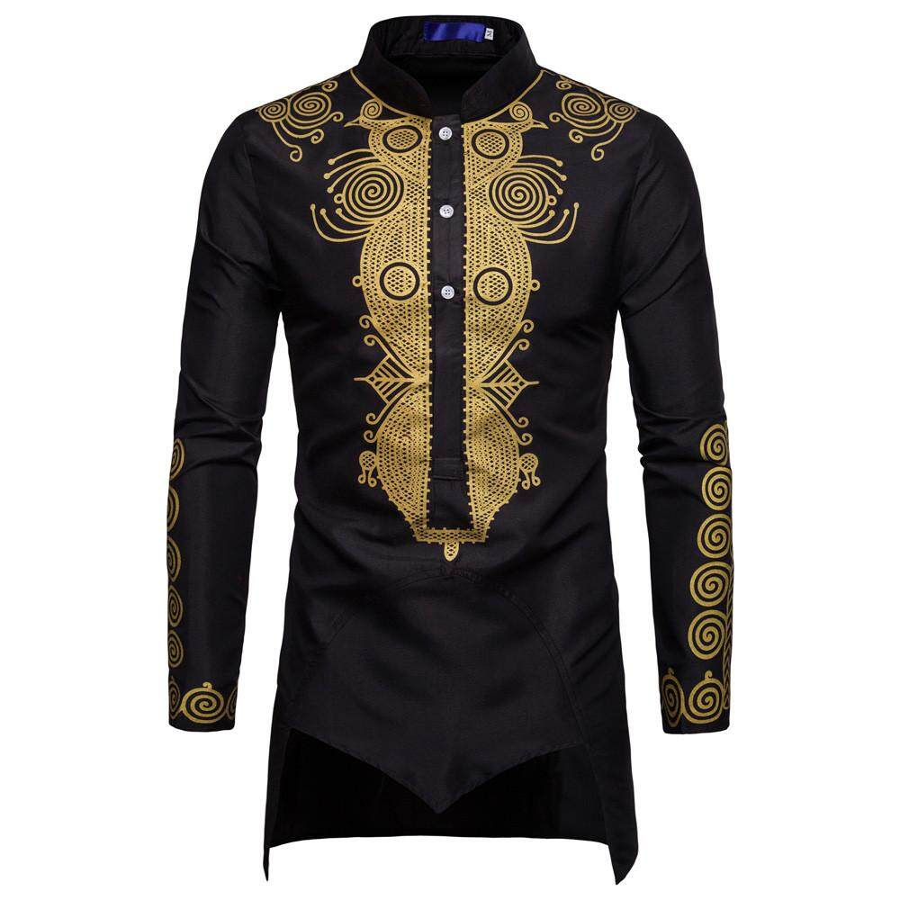 4989a73eaeb1 ViviMall Men s Autumn Winter Luxury African Print Long Sleeve Dashiki Shirt  Top Blouse