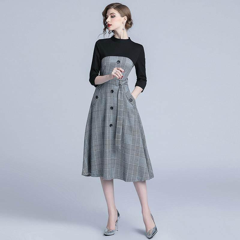af11b5e80d9c2f 2018 Women s O-neck 3 4 Sleeves Slim Waist Single Button Tie Large Pendulum