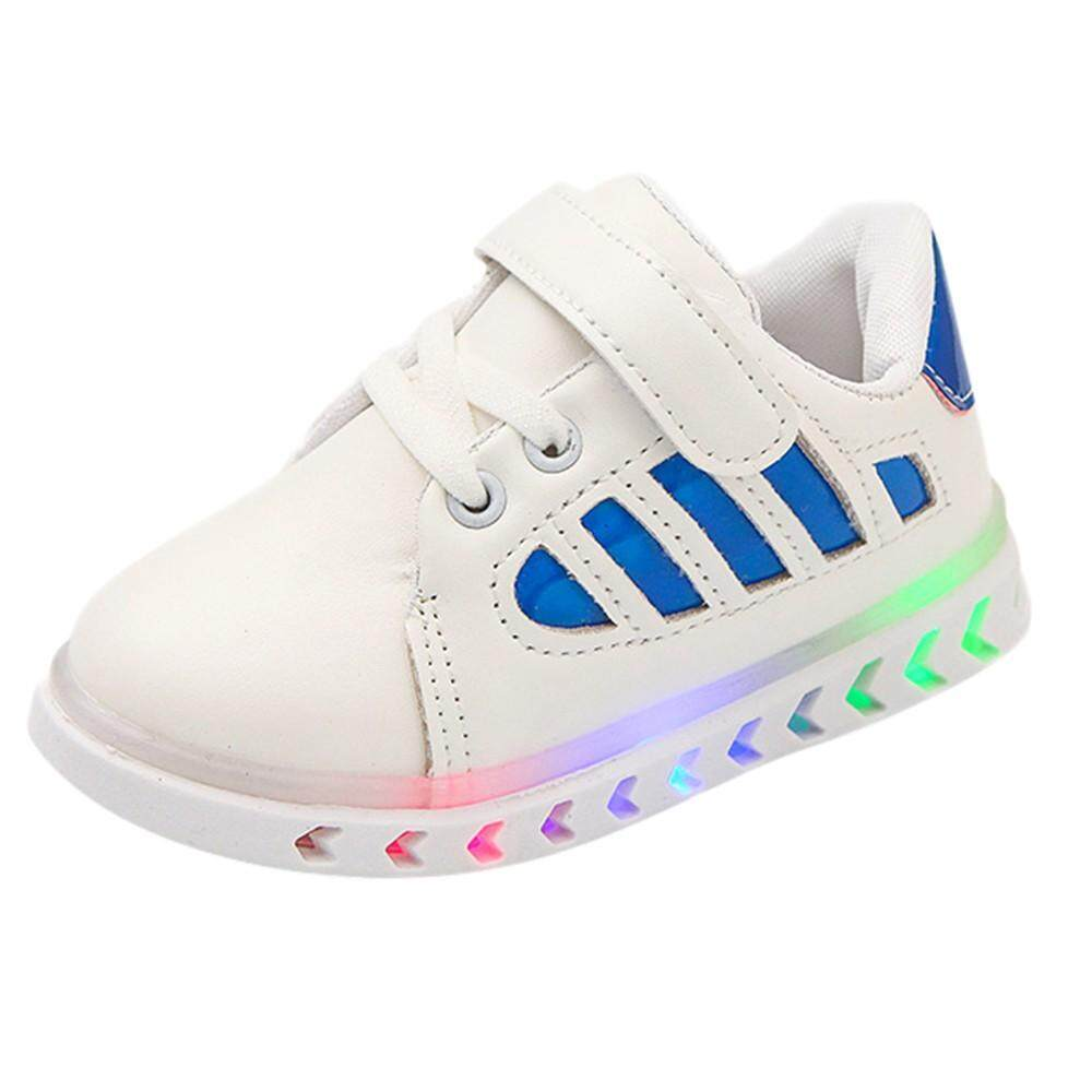 Tideshop Children Kid Baby girls Boys Leather led Light Luminous Sport Student Shoes By Tideshop.