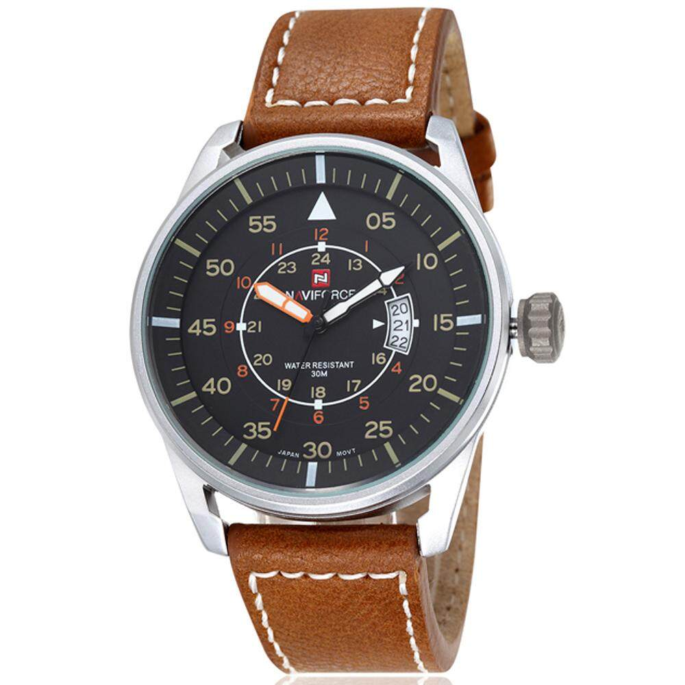 NAVIFORCE NF9044 Mens Sports PU Leather Wrist Quartz Watch - Silver + Brown (With Gift Box) Malaysia