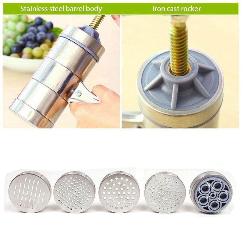 Stainless Steel Manual Noodles Press Machine Pasta Maker With 5 Noodle Mould By Happyang.