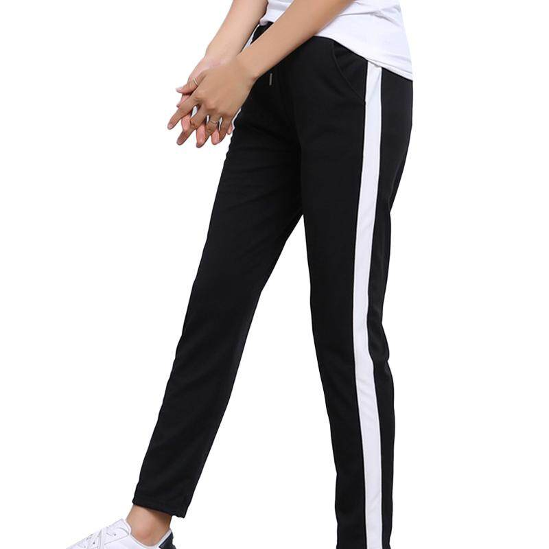 ffc0c5a117b4 moyaa Women Yoga Side Striped Gym Fitness Loose Sport Pants High Waist  Trousers
