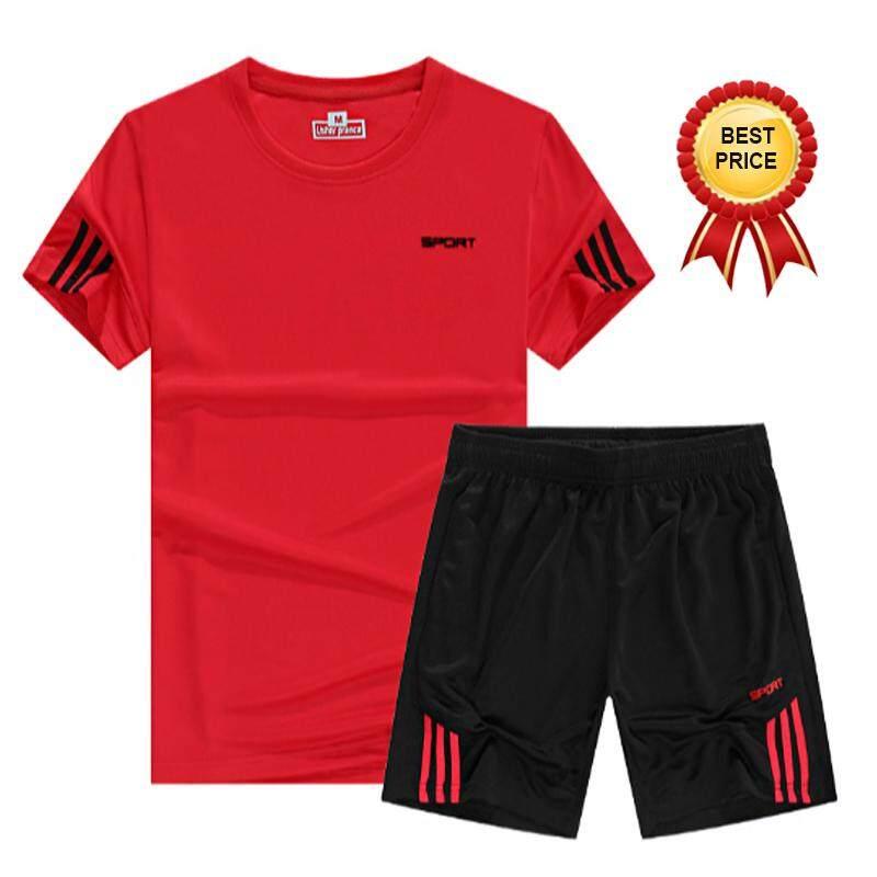 962bc401845 TF 2PCS set Summer Men Soports T shirt Running Sets Fitness Short Sleeved T  shirt