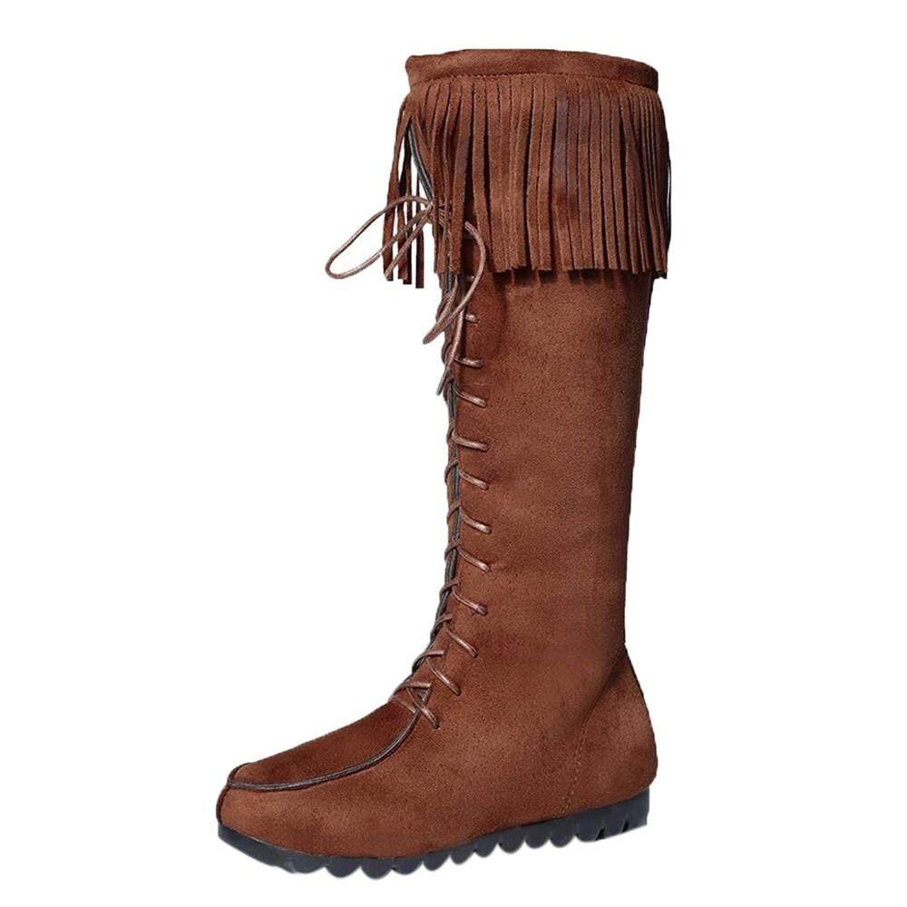 (kohlershop)-Lace Up Women Knee Long Boots Fringe Flat Heels Long Boots Tassel Knee High Boot By Kohlershop.
