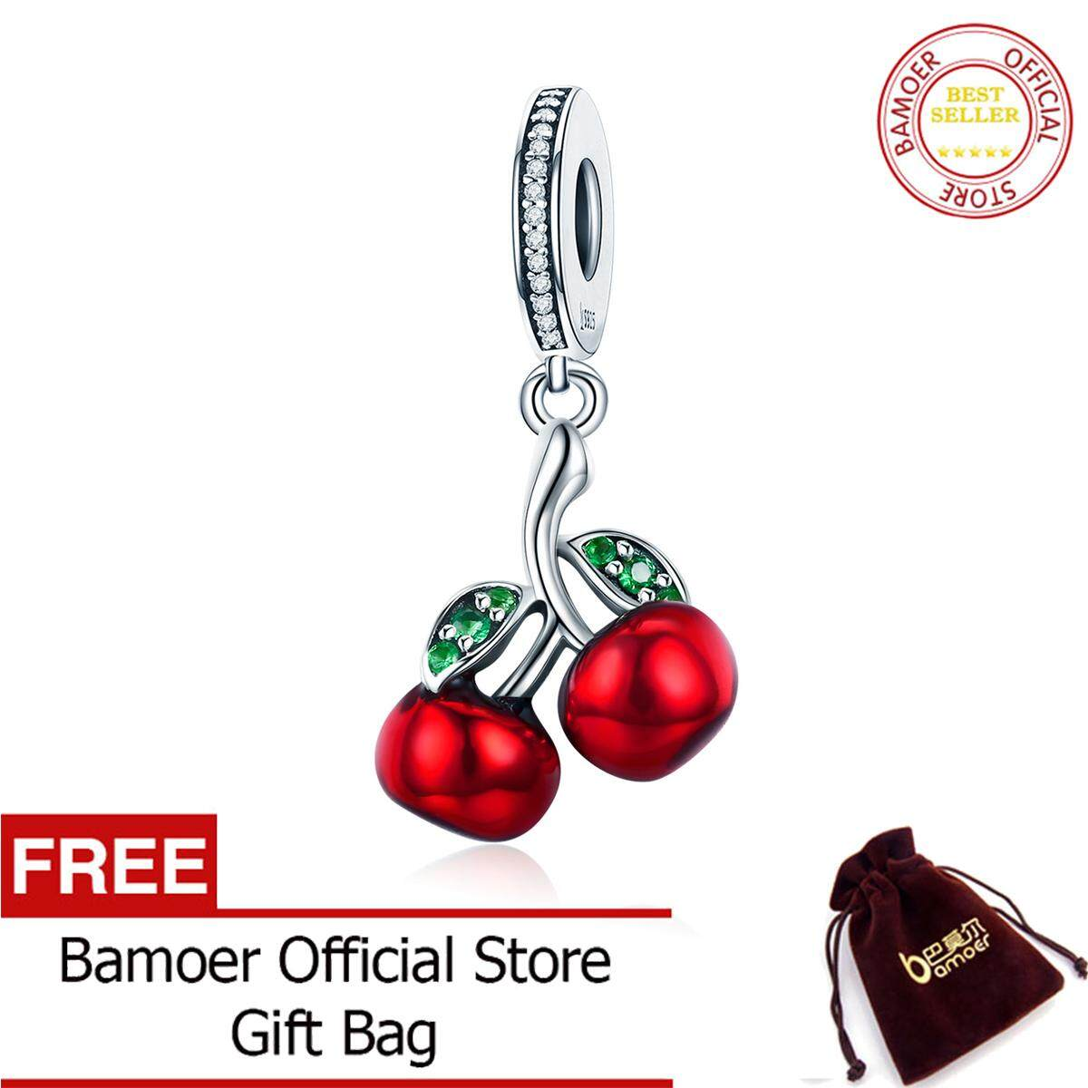 def2d4549 BAMOER Free Shpping Crazy Sale Trendy 925 Sterling Silver August Fruit Red  Enamel Cherry pendant Charm