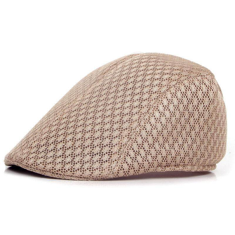 c22fc472fa8 New Mesh Mens Gatsby Hat Cabbie Flat Cap Newsboy Golf Beret Irish Hats khaki
