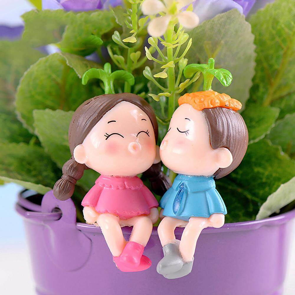 Whyus-Dorable Couples with Sprouting Leaves Figurines Micro Landscape Miniature Ornaments