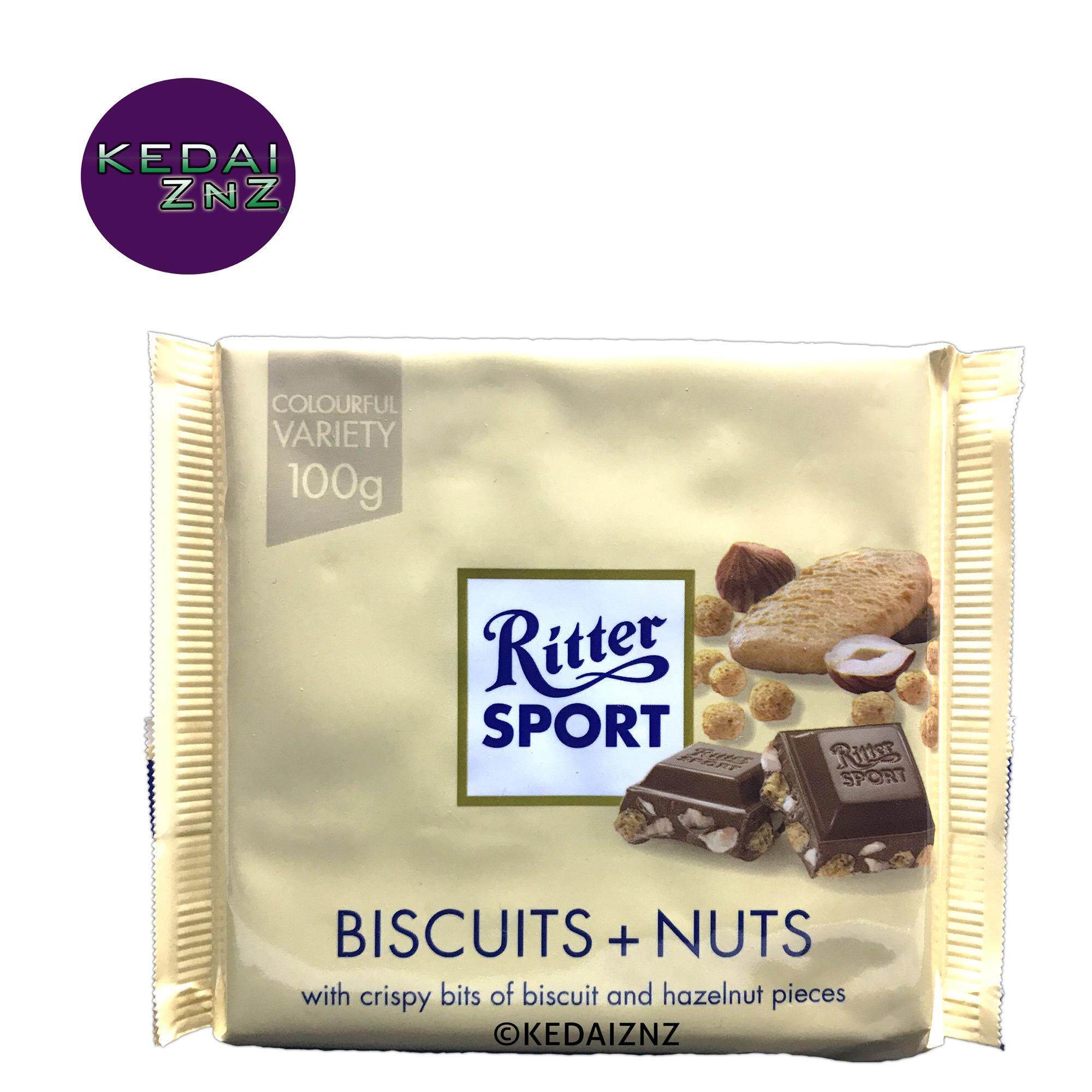 Chocolate Ritter SPORT Biscuits and Nuts Chocolate Bar 100g Coklat