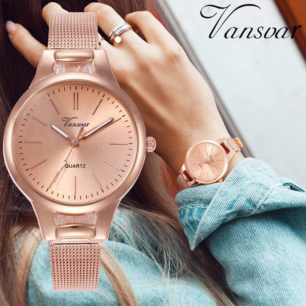 BPFAIR vansvar Casual Quartz Stainless Steel Band Newv Strap Watch Analog Wrist Watch Free shipping Malaysia