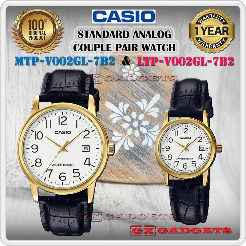 CASIO MTP-V002GL-7B2 + LTP-V002GL-7B2 STANDARD Analog Couple Pair Watch Date Leather Band Gold Case Water Resistant MTP-V002 LTP-V002 V002 Series Malaysia