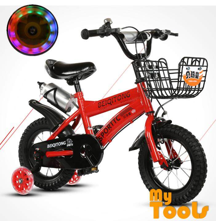 12 Inch Wheels Sturdy Steel Frame Bmx Freestyle Kids Sport Bicycles Bikes With Colorful Training Wheels For Boys Or Girls (reds) By Mytools Marketing.