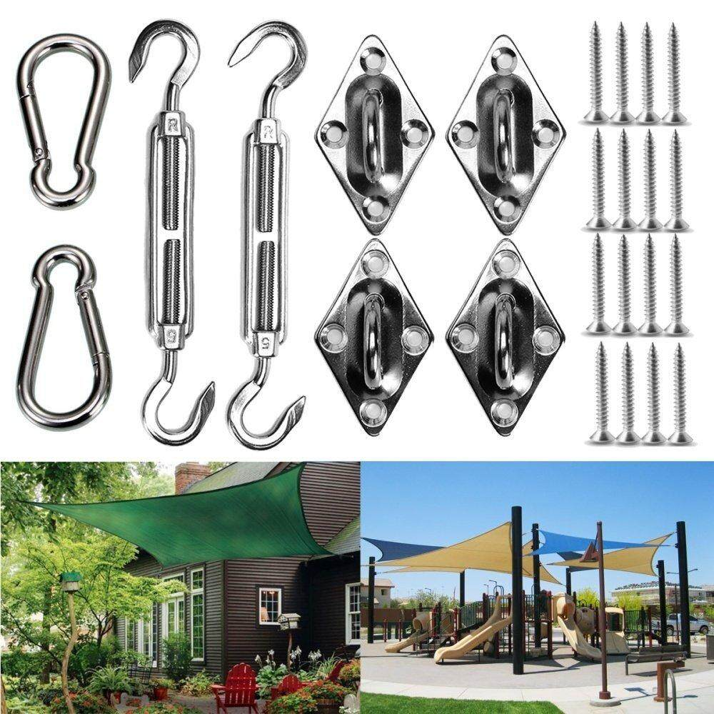Panda Online 8PCS Stainless Steel Sun Sail Shade Canopy Fixing Fittings Hardware Accessory Kit