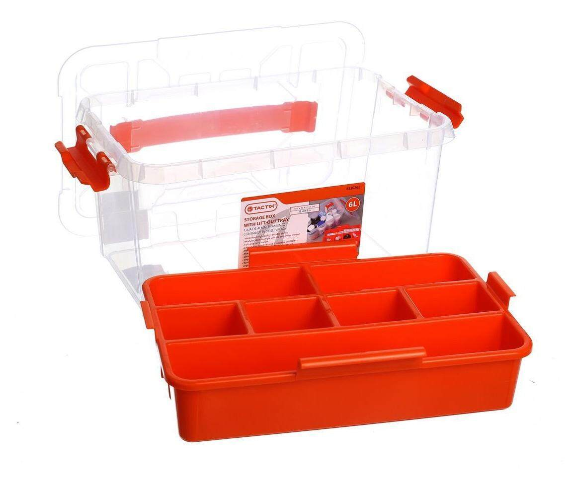 TACTIX Clear Container 6L Multipurpose storage box with lift-out tray, modular design, stack multiple units for customisation of storage, clear transparent design. # Whatts Thatt