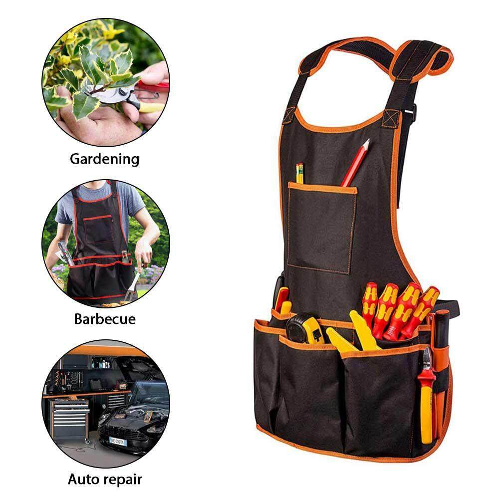 Work Apron Adjustable Multifunction Canvas Tool Apron Waterproof with 16 Tool Pockets