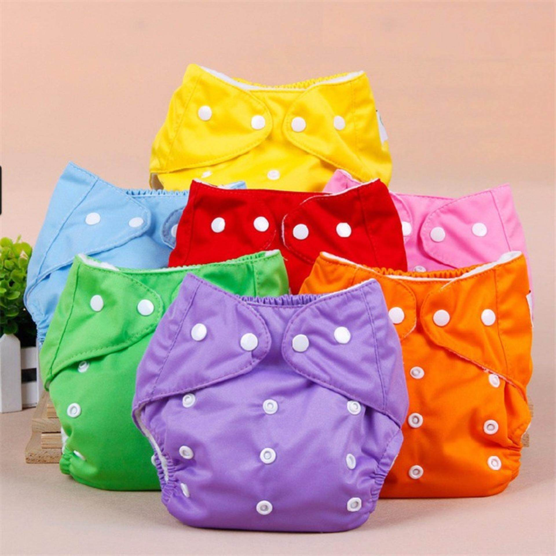 5 Pcs/lot + 5 Inserts Adjustable Cloth Diaper Baby Newborn Washable And Reusable Nappies By Fripershop.
