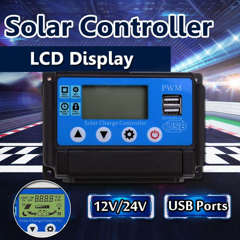 40A Solar Charge Controller 12V / 24V Automatic Adapt LCD Display USB Ports