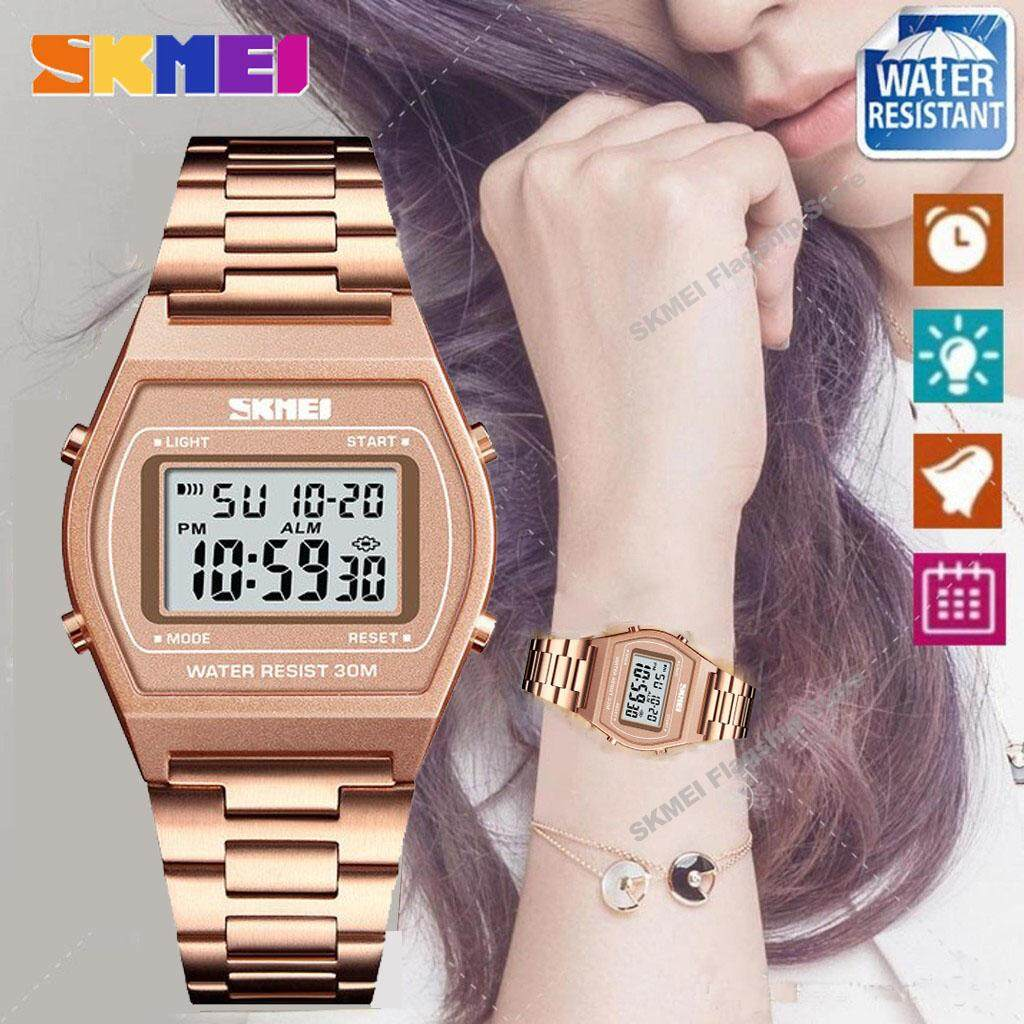 SKMEI New Women Fashion Watches Count Down Waterproof Watch Stainless Steel  Fashion Digital Wristwatches Female Clock bfb95fa48c