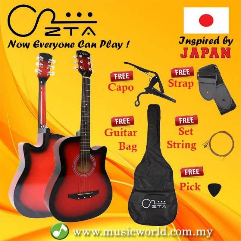 ZTA 38 Inch Acoustic Guitar Red Burst Cutaway Starter Pack Folk Guitar Bundle Package Malaysia