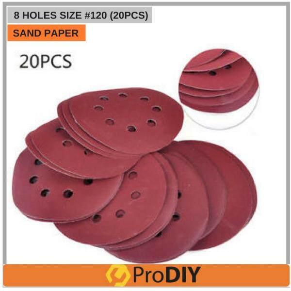 20Pcs 120 125mm 5 Inch Meshes Wood Self-adhesive Velcro Flocking Sandpaper Sanding Disc