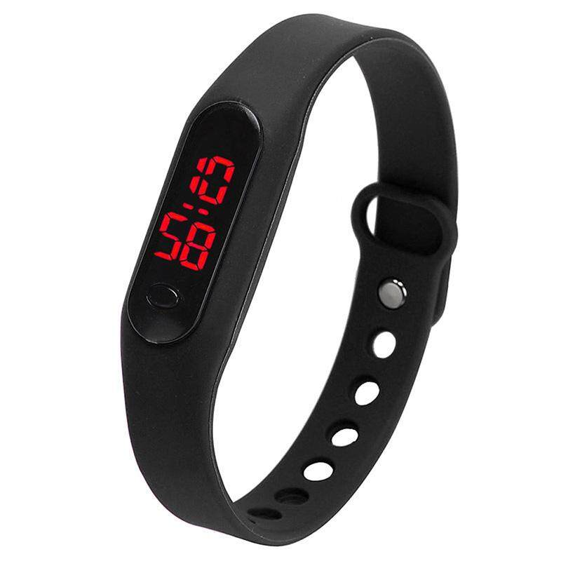 Fashion LED Womens Mens Date Sports Bracelet Watch Rubber Digital Wrist Watches Black Malaysia