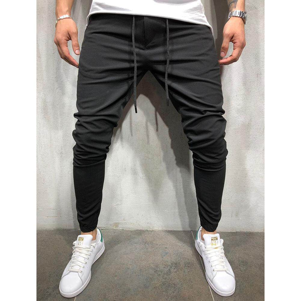 Men Sport Pants Middle Waist Slim Fit Trousers Running Joggers Gym Sweats Pants M-3xl By Super Star Mall.