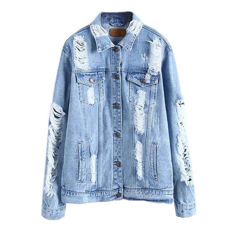 60259e6783 Women s New Fashion Spring Autumn Vintage Denim Jacket Female Casual Street  Wear Hole Long Sleeves Loose