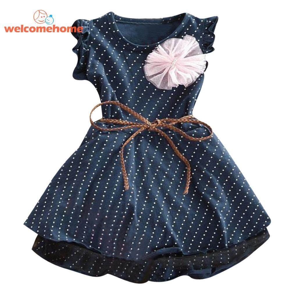 8d7717c36c3 Summer Princess Flower Girls Kids Birthday Party O-Neck Polka Dot Dress (Blue)