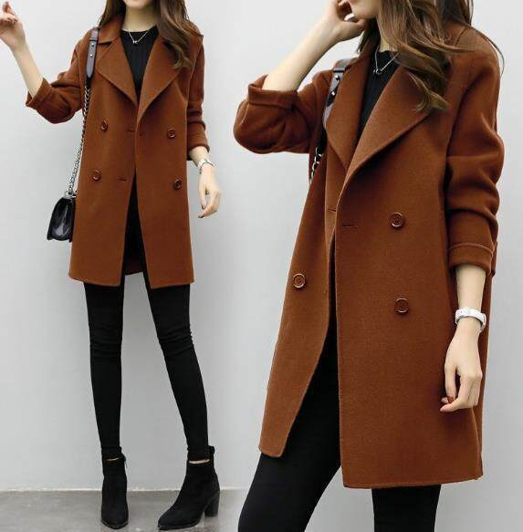 8bb5b082963 Coat Women Autumn and Winter New Style Long and Medium Style Loose Double  Breasted Woollen Coat