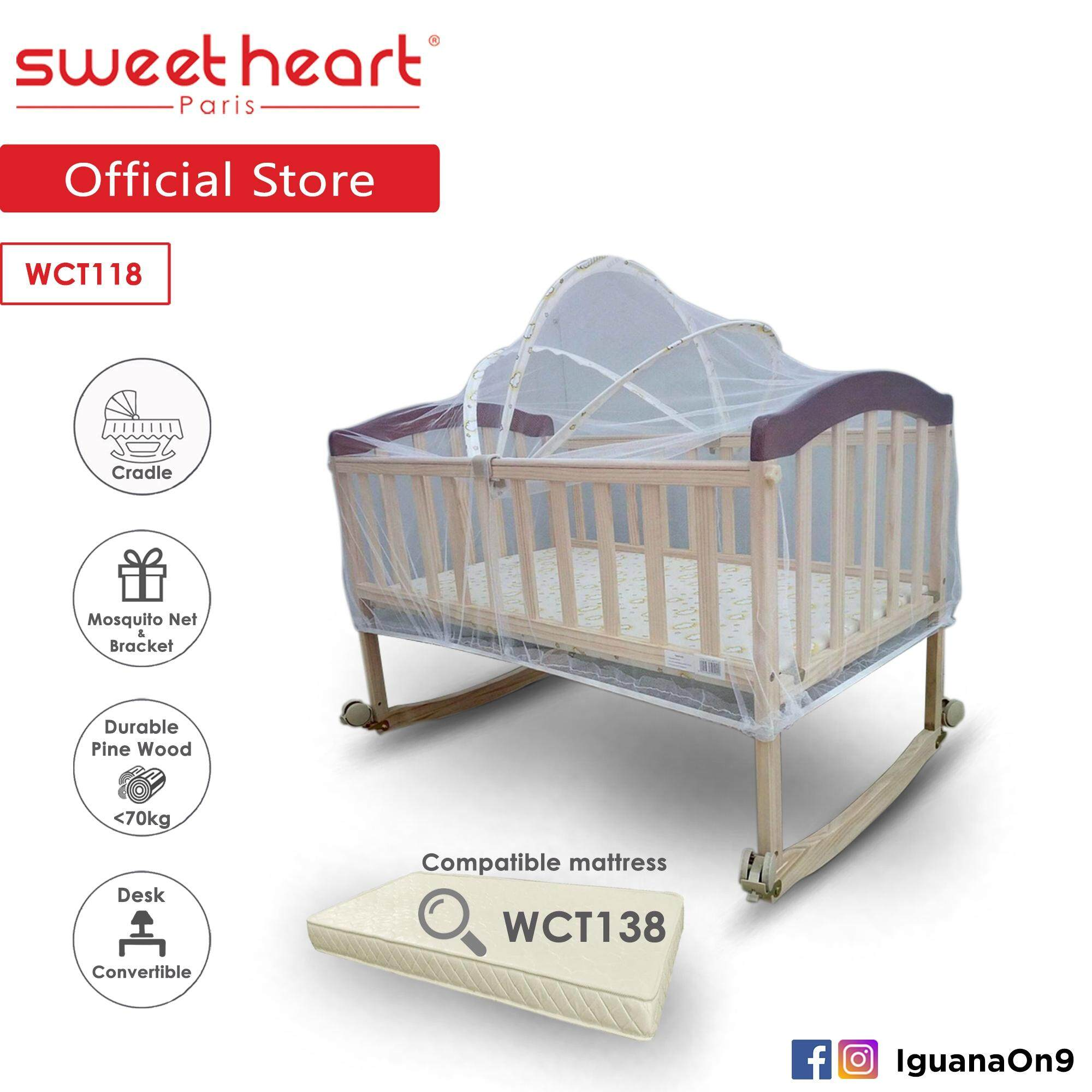 info for c5624 746cc Sweet Heart Paris WCT118 Multi Functional Rocking Cradle Baby Wooden Cot