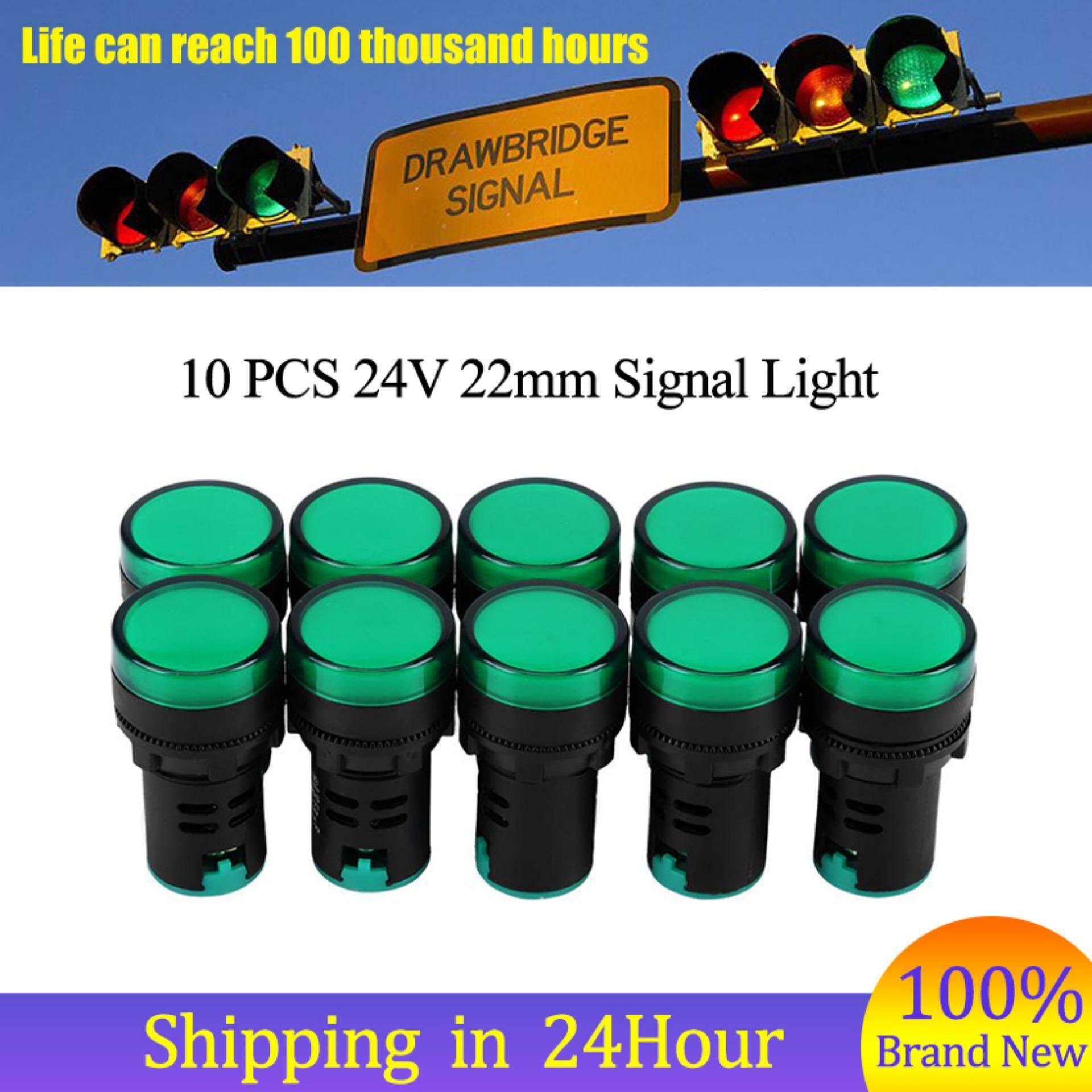 Signal Light 10Pcs AC/DC 24V 22mm Thread LED Electronic Indicator Signal Light (Green)