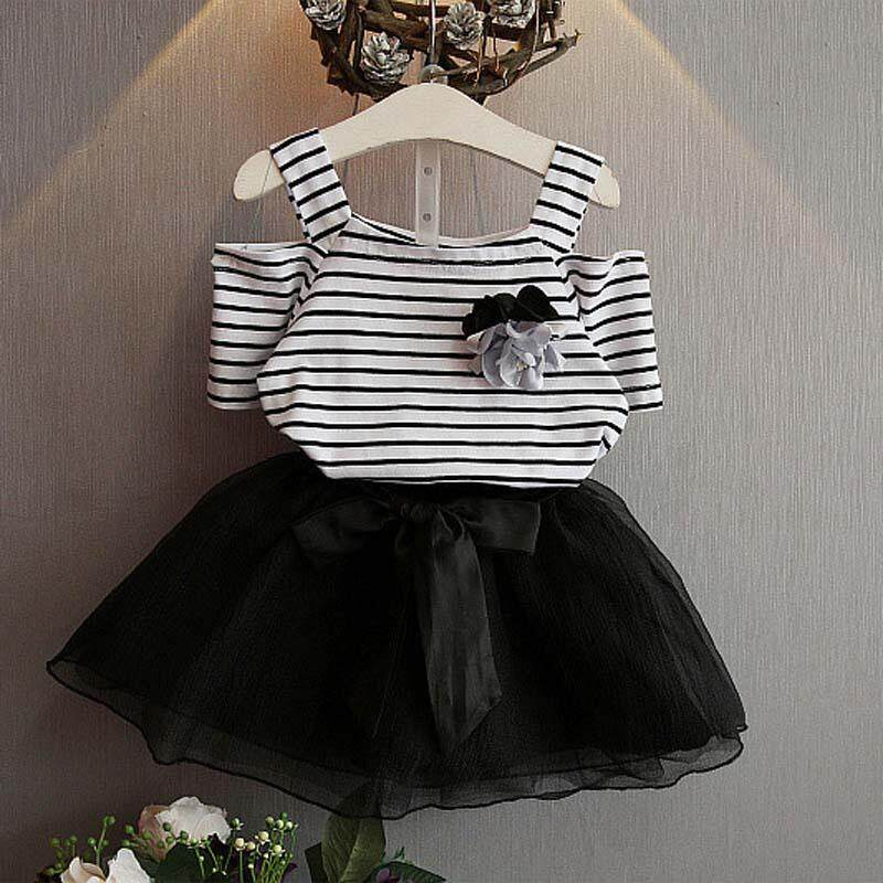 decef64e6 DE Summer Girl Clothing Set Flower Striped Top Bowknot Tutu Skirt