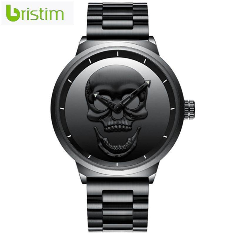 Men Fashion Metal Mesh Belt Quartz Skull Head Pattern Watch Malaysia
