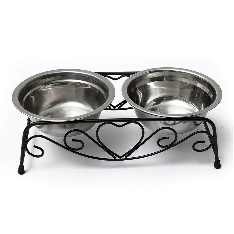 Stainless Double Dog Bowl + Medium Bowl Metal Bowl Waterer Stand By Shakeshake.