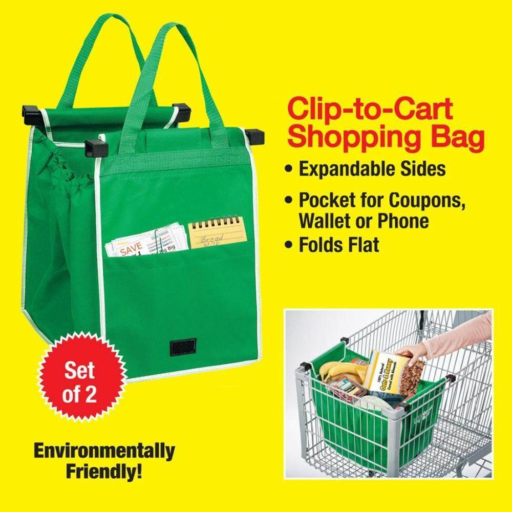 2 Pieces Grocery Grab Shopping Bag Foldable Tote Eco-Friendly Reusable Large Trolley Supermarket Large Capacity Bags / Mezrit Sdn.bhd By Mezrit Sdn. Bhd..