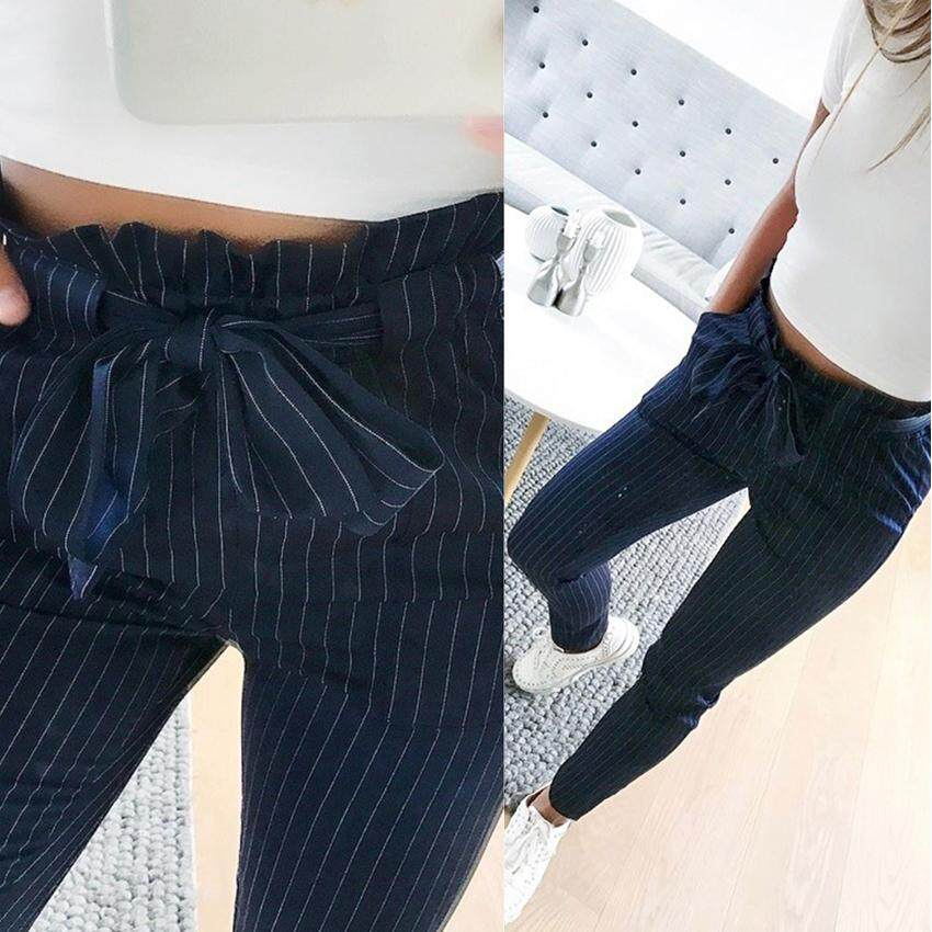 Striped Ol High Waist Ruffle Harem Pants Women Ankle Length Pants Summer Style Casual Pants Female Trousers By A Nice Deal.