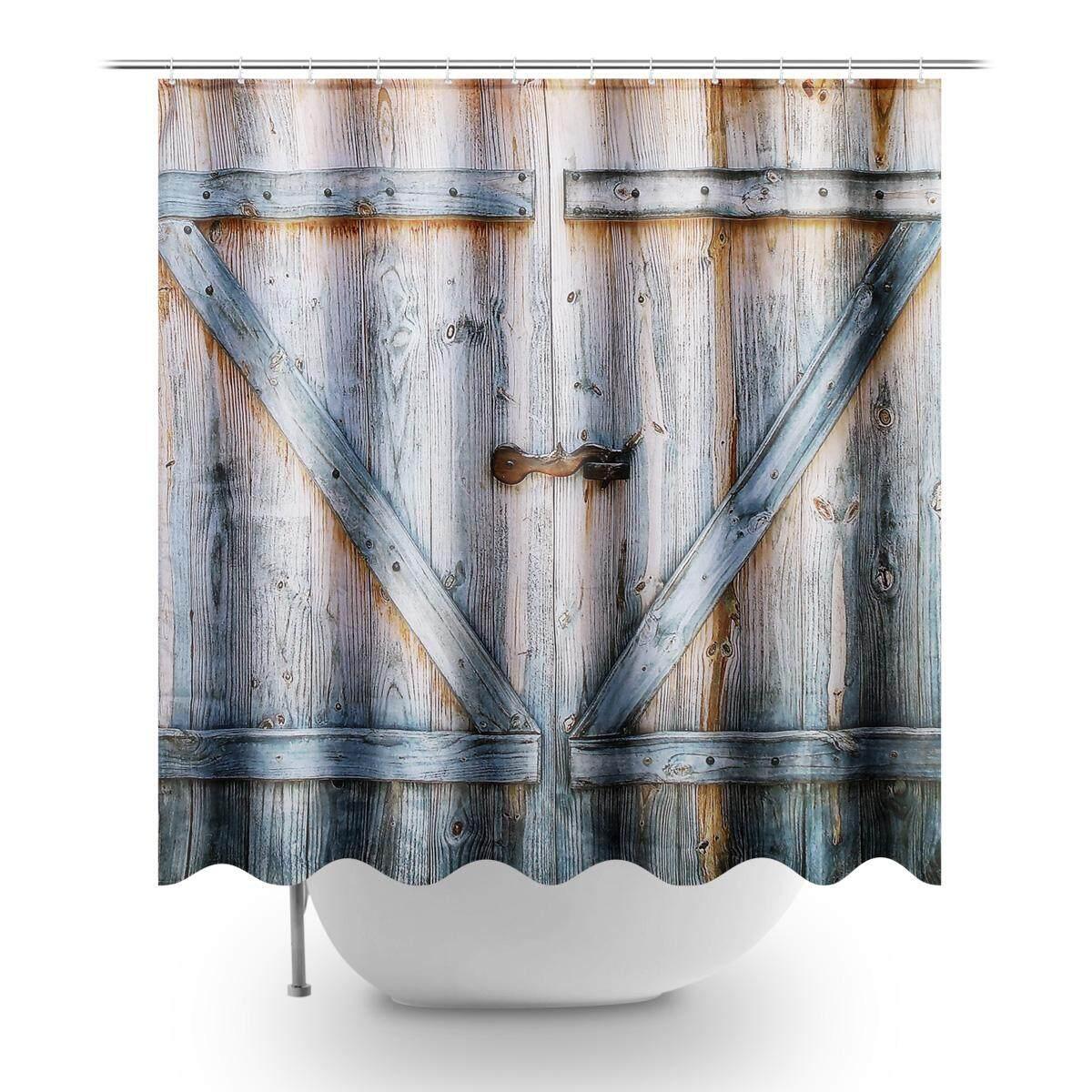 180 180cm Wooden Door 3d Printing Waterproof Shower Bath Curtain Hooks