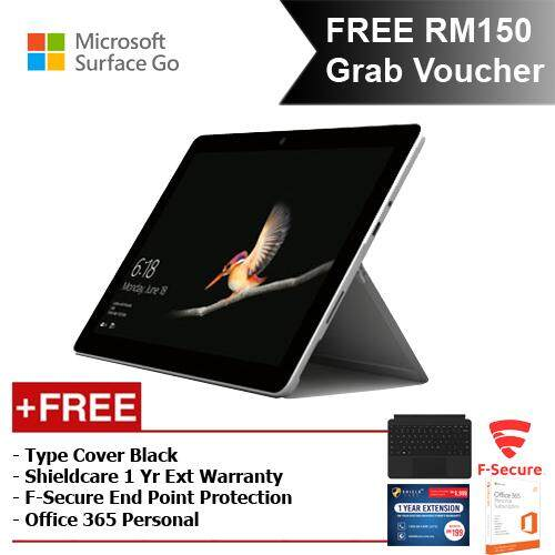 Microsoft Surface Go Y/4GB 64GB + Surface Go Type Cover Black + Shieldcare 1 Year Entended Warranty + F-Secure Endpoint Protection + Office 365 Personal Malaysia