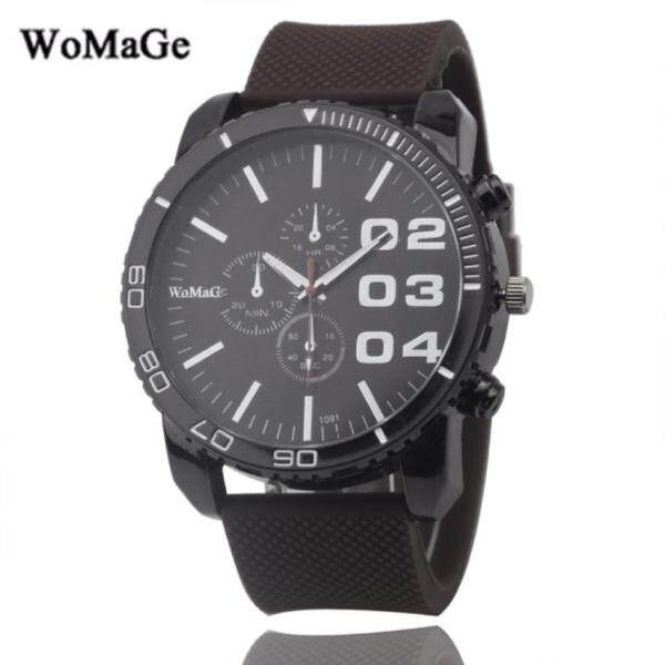 Womage Mens Silicone Strap 3 Dial Display Fashion Watch (Full Black) Malaysia